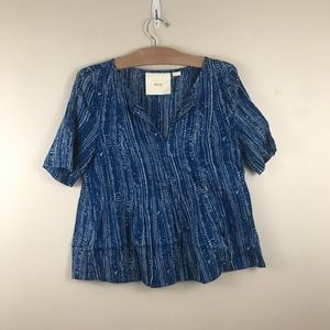 Anthropologie Maeve Peplum Striped Shirt Cotton